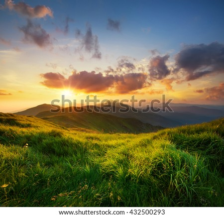 Mountain valley during sunrise. Natural summer landscape #432500293