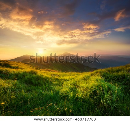 Mountain valley during sunrise. Natural summer landscape #468719783