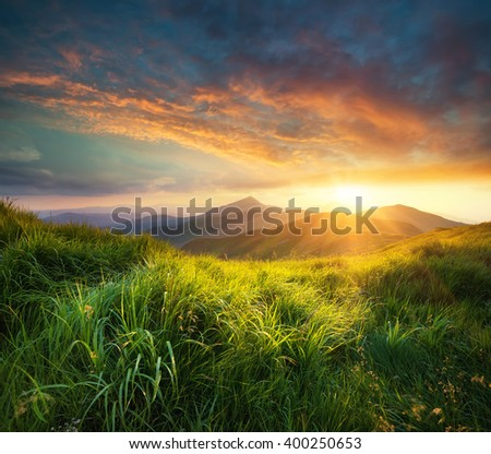 Mountain valley during sunset. Natural summer landscape #400250653