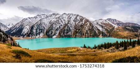 Mountain valley lake panoramic landscape. Mountain lake panorama. Mountain green lake panoramic landscape. Mountain lake panorama view