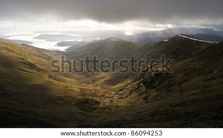 Mountain valley landscape, Fairfiled Horseshoe, Lake District, Cumbria, Great Britain #86094253
