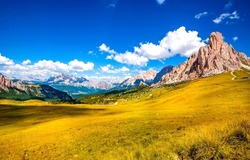 Mountain valley on a clear day. Mountain valley landscape. Beautiful mountain panorama. Mountain landscape