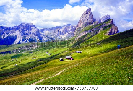 Mountain valley panoramic landscape #738759709