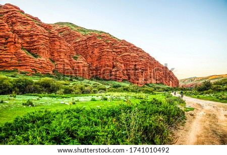 Mountain valley red rock landscape. Red rock in mountain valley