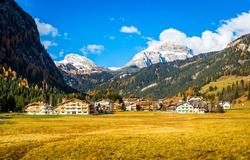 Mountain valley resort landscape view. Mountain ski resort in autumn. Mountain resort valley landscape
