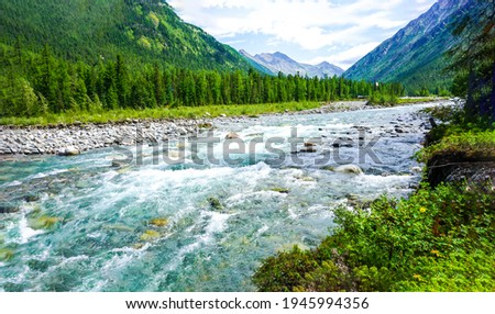 Mountain valley river flow landscape. River wild in mountain valley