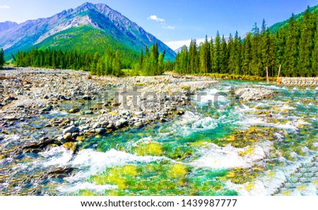Mountain valley river flowing landscape. River mountain valley. Mountain river valley landscape. Mountain river landscape
