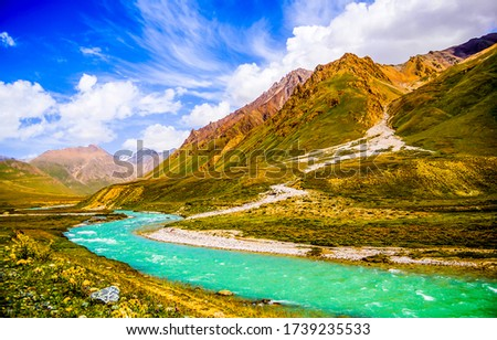 Mountain valley river green landscape. Mountain river valley landscape. Mountain river view. River in mountin valley