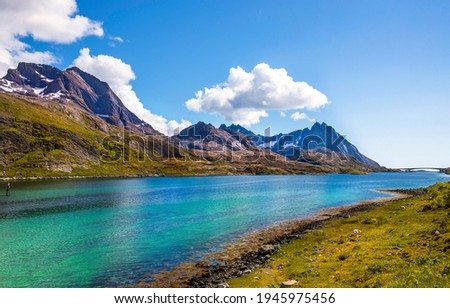 Mountain valley river landscape. River in mountain valley. Mountain river shore