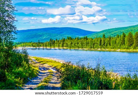 Mountain valley river landscape. River valley in mountains