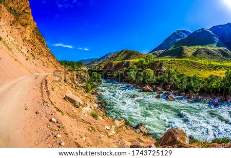 Mountain valley river rapids view. Mountain river wild landscape. River in mountains