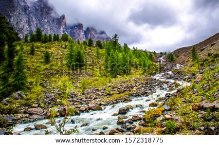 Mountain valley river stream landscape. River stream in mountains. Mountain river stream landscape. Mountain river stream valley
