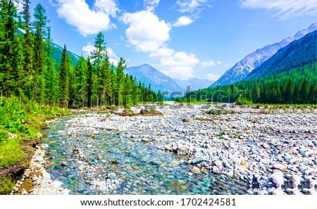 Mountain valley river water landscape. Mountain valley river. Mountain river valley landscape