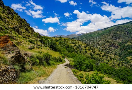 Mountain valley road in sunny day. Trail in mountains. Mountain green valley landscape