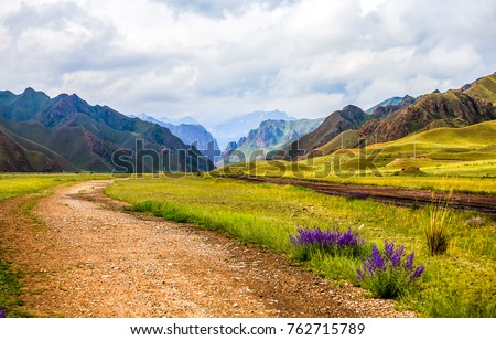 mountain valley road landscape