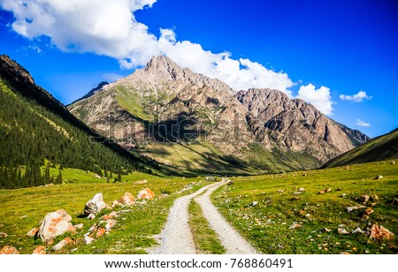 Mountain valley road landscape #768860491