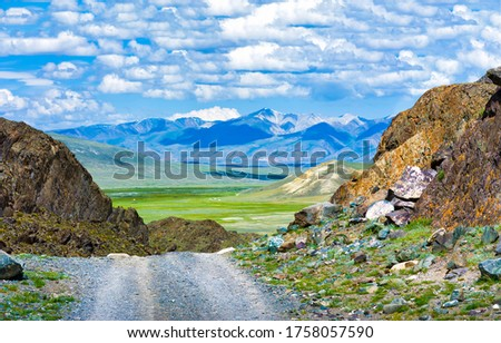 Mountain valley road landscape. Mountain trail view. Mountain road landscape. Road in mountains