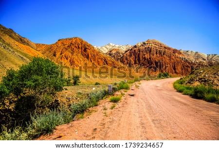Mountain valley road landscape. Road in mountain valley. Mountain road view