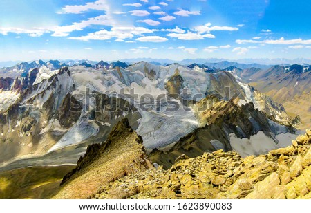 Mountain valley rocks landscape. Mountain panorama. Mountain peaks landscape