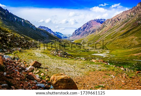 Mountain valley rocks landscape view. Mountain valley