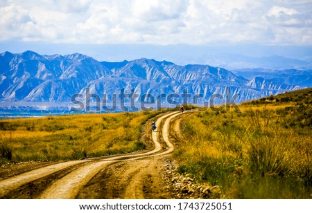 Mountain valley rural road landscape