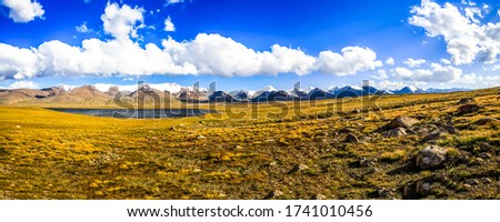 Mountain valley sky clouds panoramic landscape. Mountain valley panorama