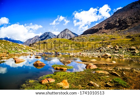 Mountain valley water landscape view