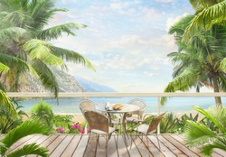 Mountain view and blue sea view with palm trees with breakfast on the table