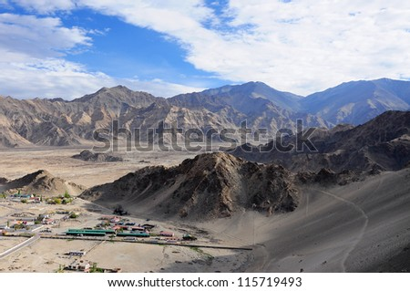 Mountain view from Thiksey monastery, India