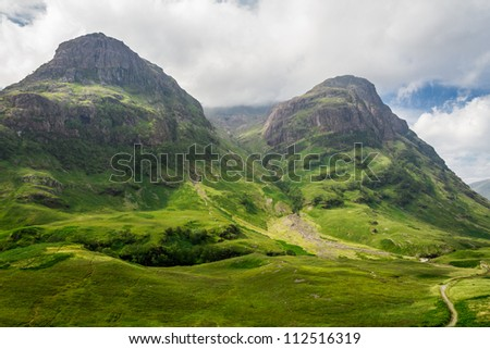 Mountain view in Scotland in the Glencoe