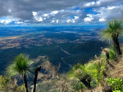 Mountain view of the winding Cunningham Highway approach to Cunninghams Gap in Queensland.