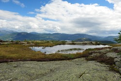 Mountain view towards Vraadal, Norway.  Norwegian mountains on a partly cloudy summer day.  Small pond with green and purple vegetation. Horizontal image with copy space in upper part.