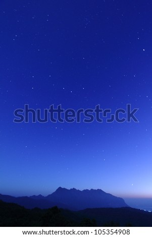 mountain view with starry night sky