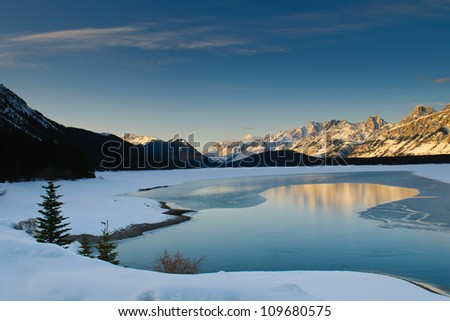 Mountain views in winter, Kananaskis Country, Alberta Canada - stock photo