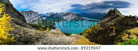Mountain views of Rawson and Kananaskis Lakes Area Peter Lougheed Provincial Park, Kananskis Country Alberta Canada - stock photo