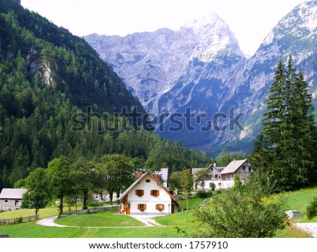Mountain village - stock photo