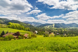 Mountain village as marvelous landscape with Lysa hora summit - Moravian-Silesian Beskydy