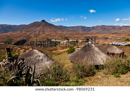 Mountain village  in Africa on a sunny day