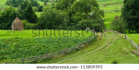 Mountain village in Carpathian, Ukraine.