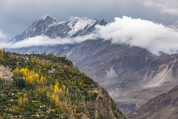Mountain village in hunza river valley gilgit baltistan , Pakistan Northern areas