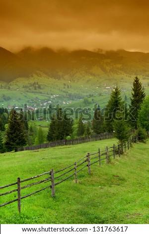 Mountain village in the Romanian Carpathians, Romania #131763617
