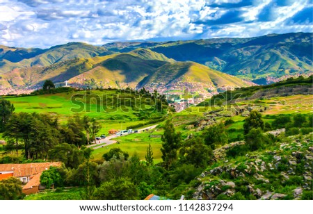 Stock Photo Mountain village valley landscape. Mountain valley town panoramic landscape. Mountain village valley view