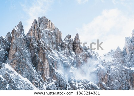 Mountain wall covered with snow in Dolomitas Foto stock ©