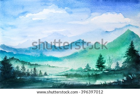 Mountain watercolor landscape.