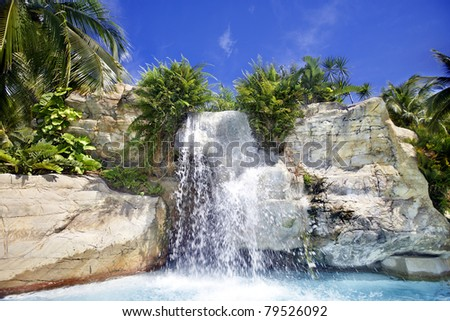 Mountain waterfall in malaysia rainforest. Langkawi.