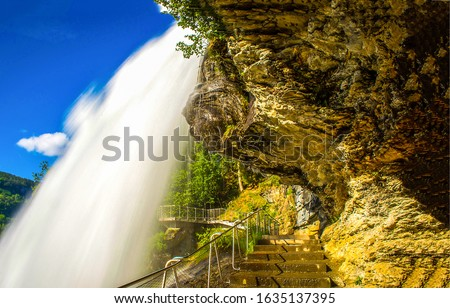 Mountain waterfall pathway stair view
