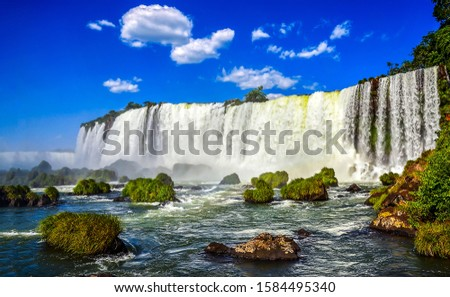 Mountain waterfall river landscape. Waterfall landscape. Beautiful waterfall panorama. Waterfall sky clouds