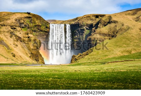 Mountain waterfall valley landscape view. Waterfall in mountains