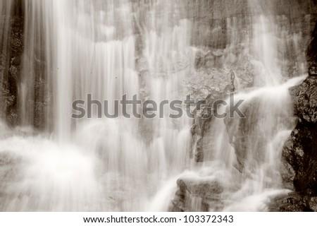 Mountain Waterfall with footbridge, Amicalola Falls in Northern Georgia, USA. Tourist destination