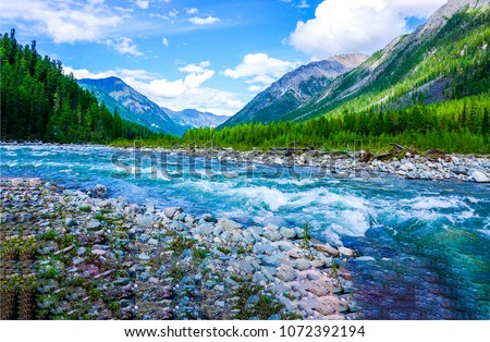 Mountain wild river landscape. River valley in mountains. Wild mountain river panorama #1072392194
